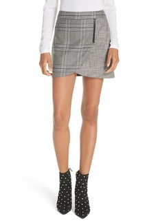 Alice + Olivia Mix Check Overlap Mini Skirt