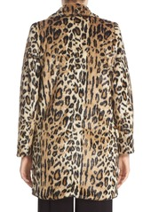 Alice + Olivia 'Montana' Leopard Print Faux Fur Double Breasted Coat