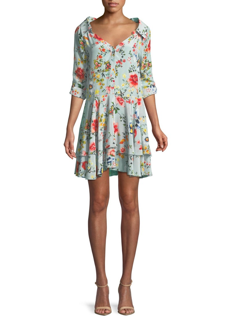 Alice + Olivia Moore Button-Down Layered Floral-Print Silk Tunic Dress