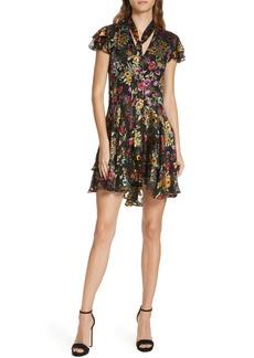 Alice + Olivia Moore Floral Tie Neck Minidress