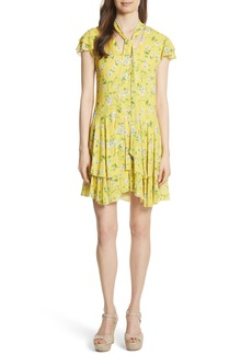 Alice + Olivia Moore Flutter Sleeve Layered Tunic Dress