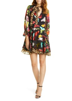 Alice + Olivia Moore Layered Butterfly Burnout Minidress