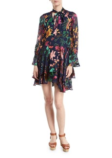 Alice + Olivia Moore V-Neck Burnout Velvet Tunic Dress with Layered Skirt