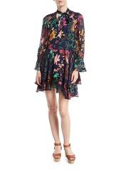 Alice + Olivia Moore V-Neck Burnout Velvet Tunic Dress with Layered Skirt