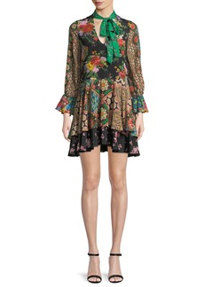 Alice + Olivia Moore V-Neck Scarf Floral-Print Silk Dress