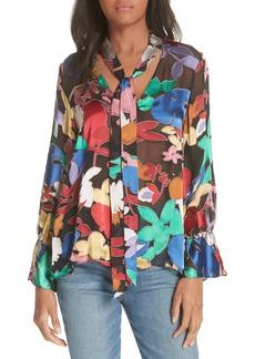 Alice + Olivia Mora Tie Neck Floral Embellished Blouse