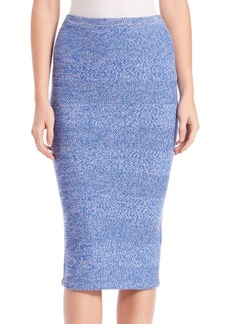 Alice + Olivia Morena Herringbone Knit Merino Wool Midi Skirt