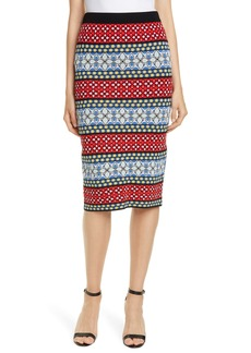 Alice + Olivia Morena Stripe Pattern Mix Pencil Skirt