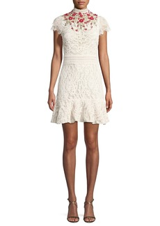 Alice + Olivia Myrtis Embellished Mock-Neck Lace Cocktail Dress