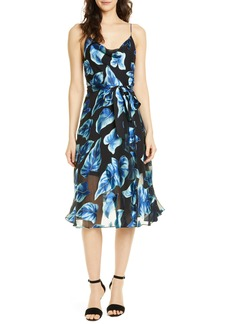 Alice + Olivia Nan Floral Drape Detail Midi Dress