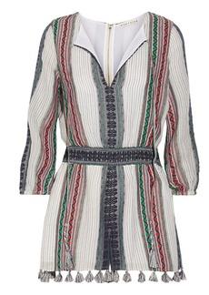 Alice + Olivia Nance tassel-trimmed embroidered cotton-gauze playsuit