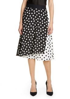 Alice + Olivia Nanette Pattern Mix Faux Wrap Silk Skirt