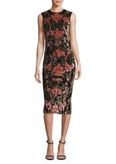 Alice + Olivia Nat Embellished Applique Midi Dress