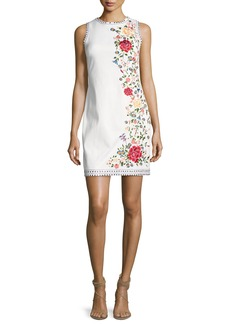 Alice + Olivia Nat Embroidered Border Studded Mini Dress