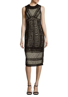 Alice + Olivia Nat Embroidered Knee-Length Dress