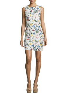 Alice + Olivia Nat Floral-Embroidered Fitted Mini Dress
