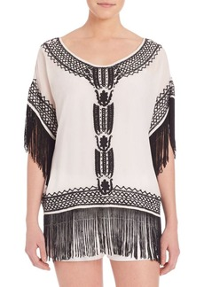 Alice + Olivia Natalie Embroidered Silk Top