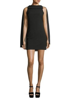 Alice + Olivia Neely Fitted Long Cape Sheath Dress