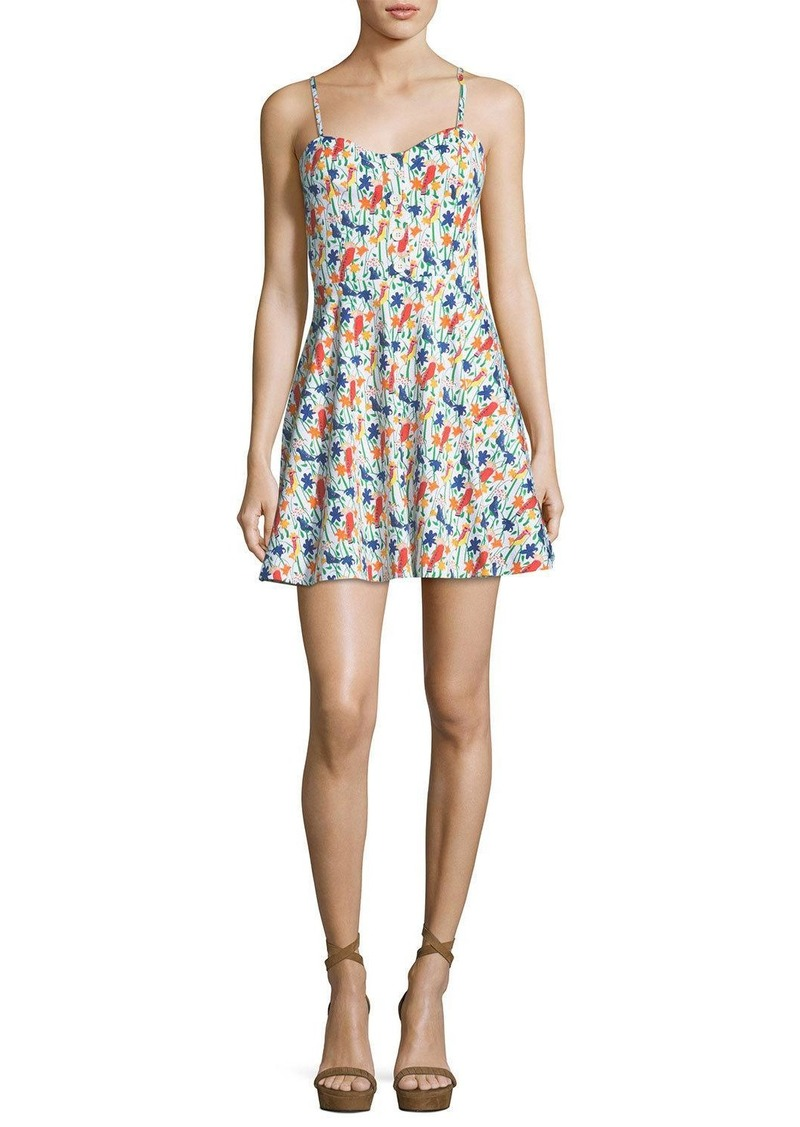 Alice + Olivia Nella Button-Front Sleeveless Mini Dress
