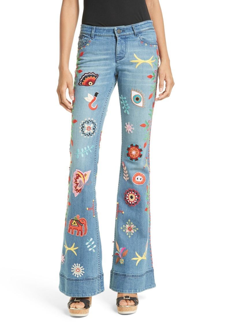Alice + Olivia New Ryley Embroidered Flare Leg Jeans