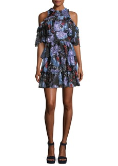 Alice + Olivia Nichola Cold-Shoulder Floral-Print Ruffled Party Dress