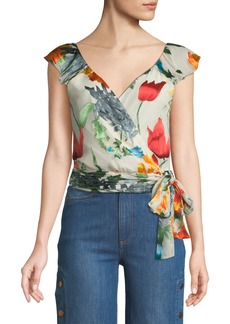 Alice + Olivia Nicole Floral-Print Cold-Shoulder Wrap Top