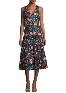Alice + Olivia Nicolette V-Neck Embroidered Flared Midi Cocktail Dress