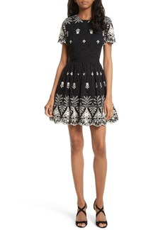 Alice + Olivia Nigel Embroidered Lace Party Dress