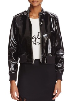 Alice + Olivia Nixon Patent Leather Bomber Jacket