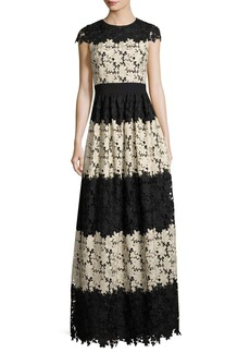 Alice + Olivia Noel Crewneck Short-Sleeve Lace Gown