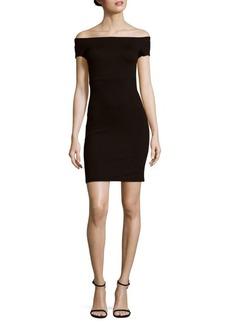Alice + Olivia Off-the-Shoulder Back Slit Dress