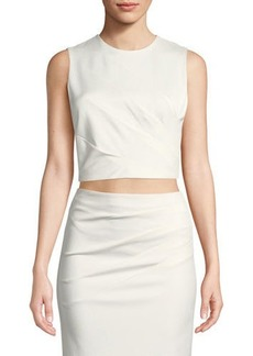 Alice + Olivia Olive Pleated Fitted Tank