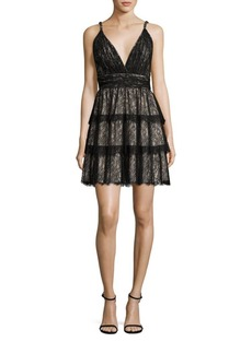Alice + Olivia Olive Tiered Lace Dress