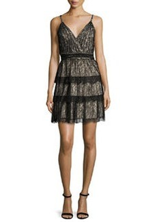 Alice + Olivia Olive Tiered Lace Mini Dress
