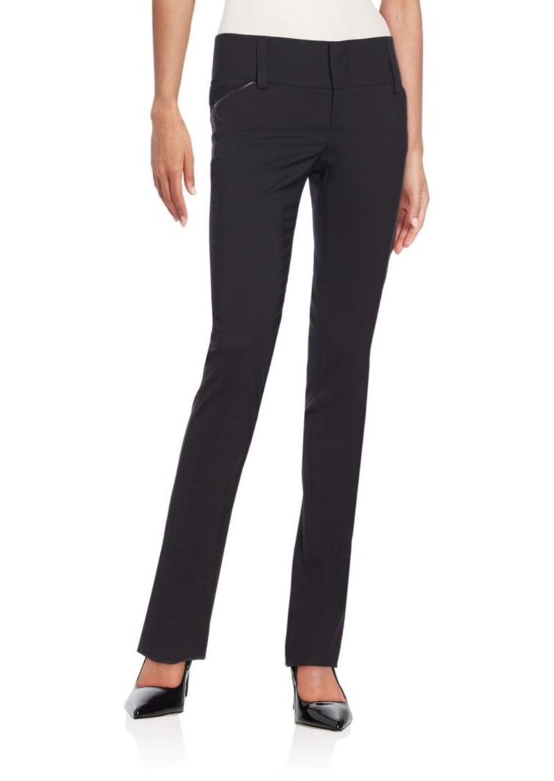 Alice + Olivia Olivia Leather-Piping Wool Pants