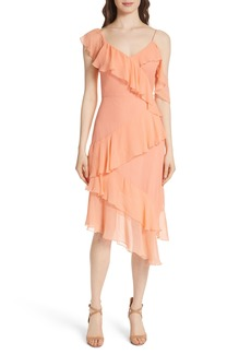 Alice + Olivia Olympia Asymmetrical Silk Chiffon Dress