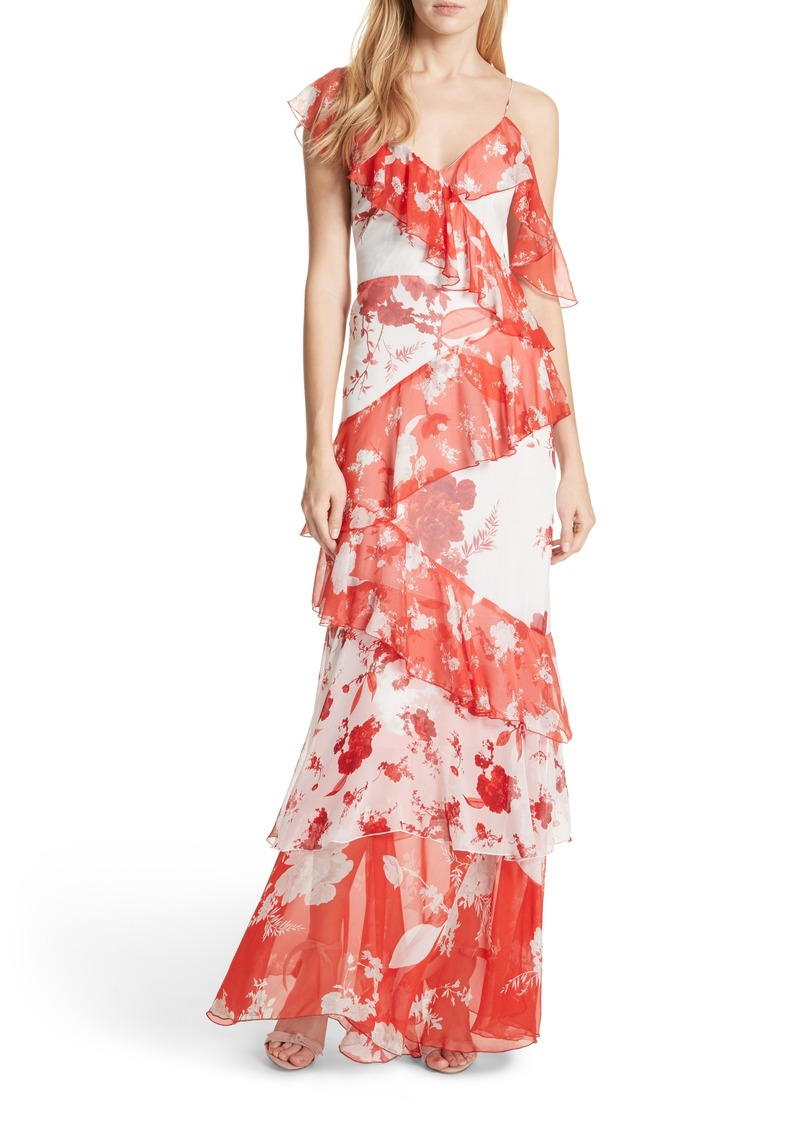 Alice + Olivia Olympia Asymmetrical Silk Maxi Dress
