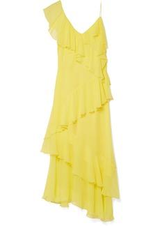 Alice + Olivia Olympia Cold-shoulder Ruffled Silk-chiffon Midi Dress