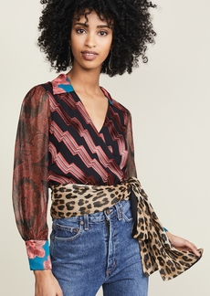 alice + olivia Omega Blouson Wrap Top