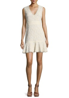 Alice + Olivia Onella V-Neck Sleeveless Lace Dress