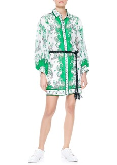 Alice + Olivia Oralia Belted Long Sleeve Silk Blend Shirtdress
