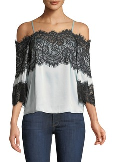 Alice + Olivia Oralia Cold-Shoulder Silk Blouse with Lace