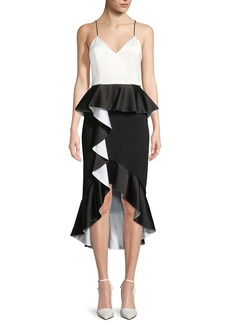 Alice + Olivia Oriana Sweetheart-Neck Peplum Ruffle Date Night Dress