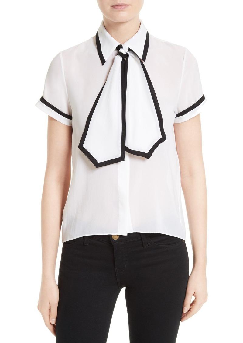Alice + Olivia Oswald Contrast Trim Silk Necktie Blouse