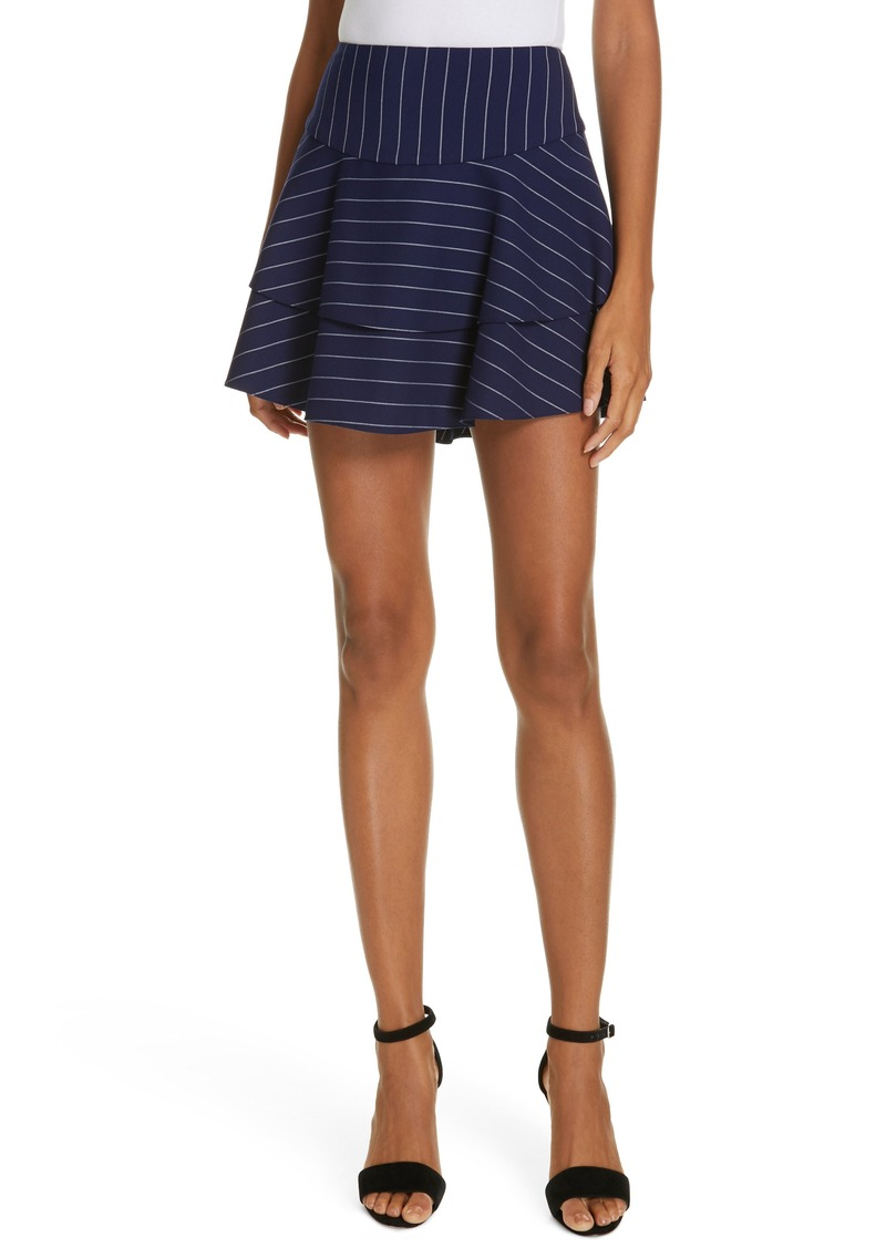 Alice + Olivia Paloma Ruffle Stripe Miniskirt