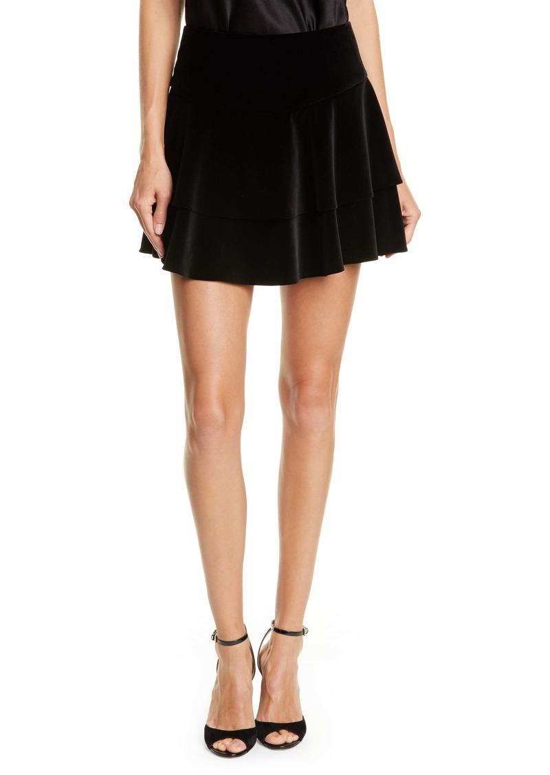 Alice + Olivia Paloma Velvet Ruffle Miniskirt
