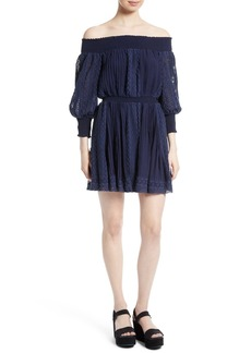 Alice + Olivia Pammy Eyelet Embroidered Off the Shoulder Blouson Dress