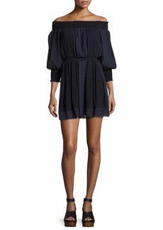 Alice + Olivia Pammy Off-the-Shoulder Lace-Trim Mini Dress
