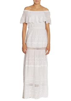 Alice + Olivia Pansy Embroidered Off-The-Shoulder Maxi Dress