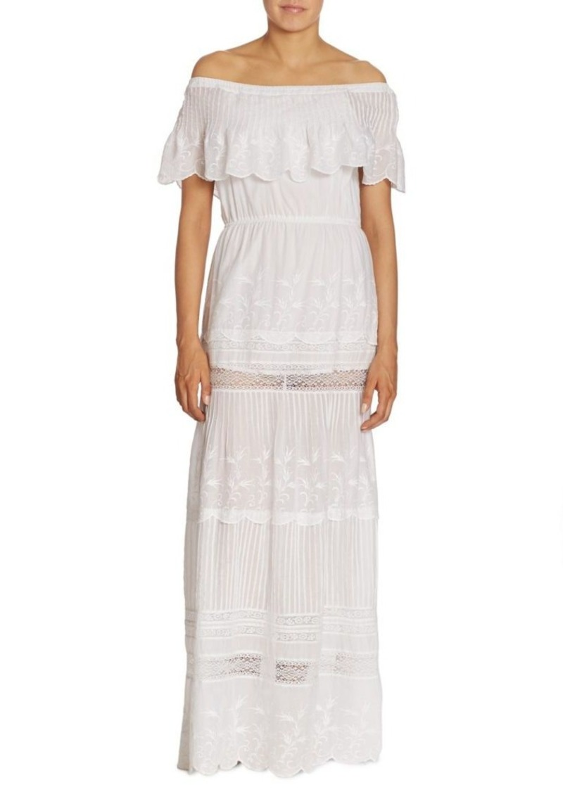 Alice Olivia Embroidered Off The Shoulder Maxi Dress